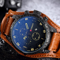 CURREN Luxury Brand Military Watches Men Quartz Analog Clock Leather Clock Man Sports Watches Army Watch