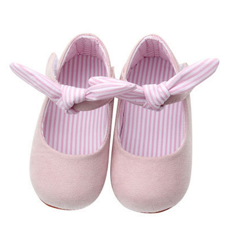 Lovely Baby Girls Spring Autumn Princess Style Sweet Bowknot Solid Color Crib Infant Pre Walkers Non-slip First Walkers Shoes