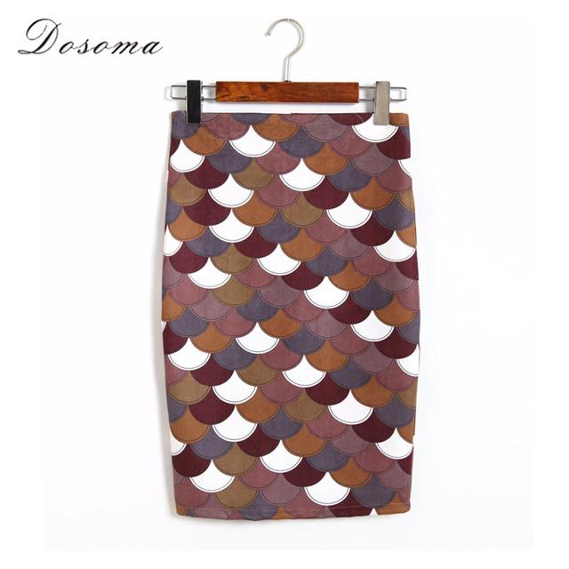 Falda de la cadera del paquete de cuero de gamuza 2016 otoño elegante impreso flaco pencil skirt mujeres oficina de cintura alta falda de las señoras delgado niñas