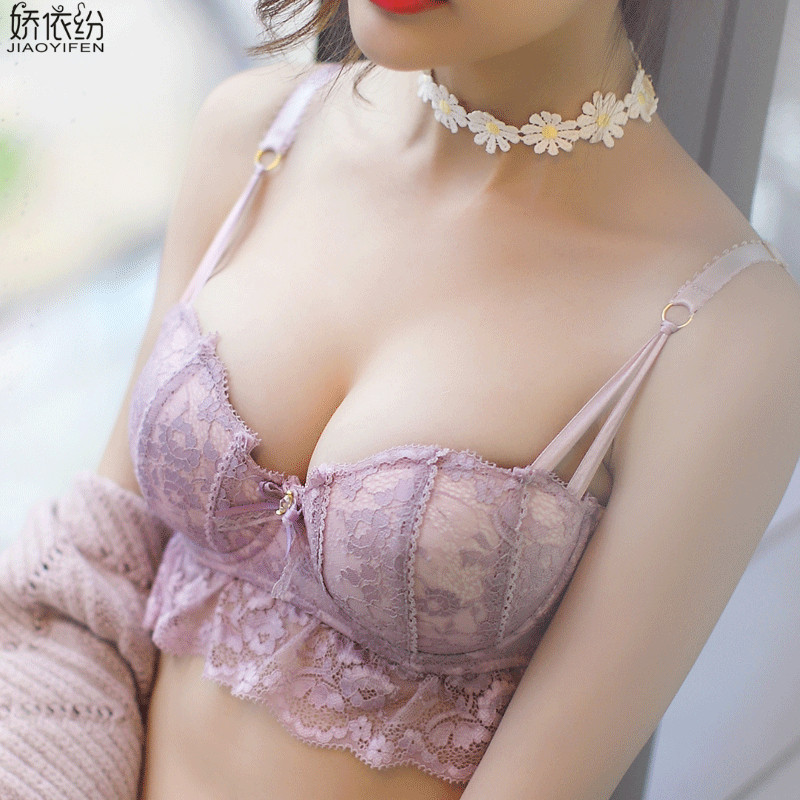 JYF Japan Women Underwear Sexy 1/2 cup Lace Bra Set High Quality Embroidery Lingerie Young Girl Push Up Bra and Panty Sets
