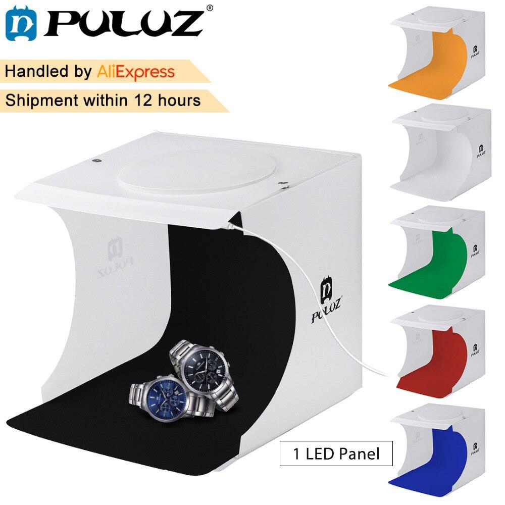 Puluz 20*20 cm 8 Mini Estudio plegable suave caja de luz con luz LED negro blanco fotografía Fondos kits de estudio de fotografía caja