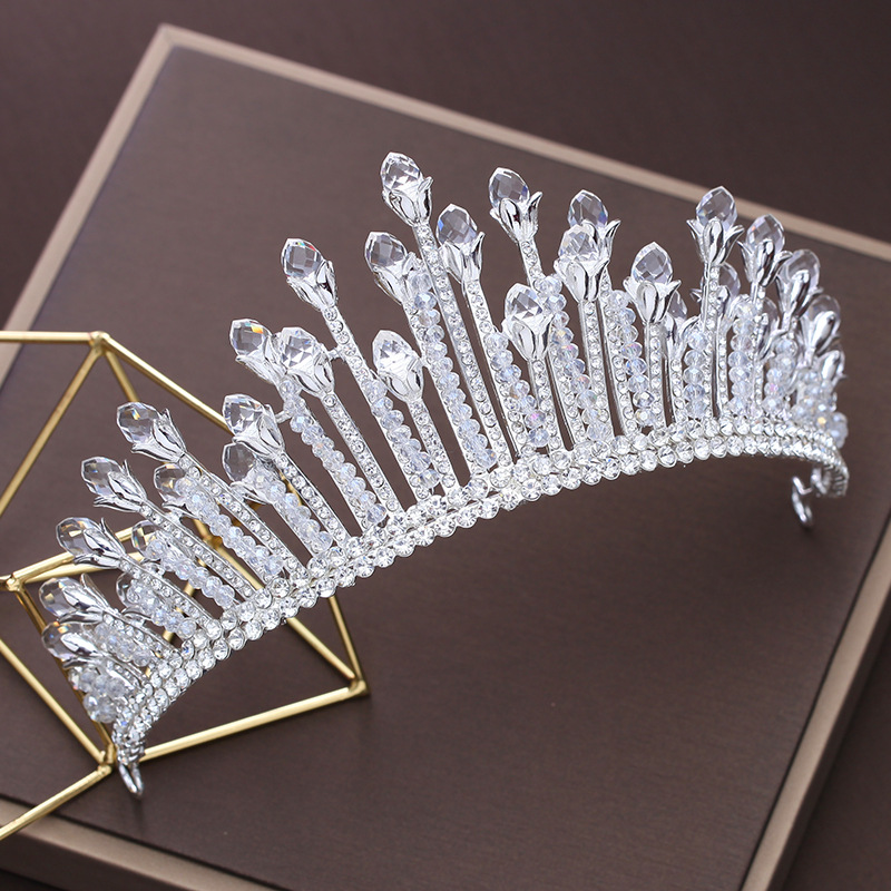 White Rhinestone Tiara Crown Bridal Wedding Headband Jewelry Fashion Korean Headpiece Ornaments Women Party Hairband Gifts