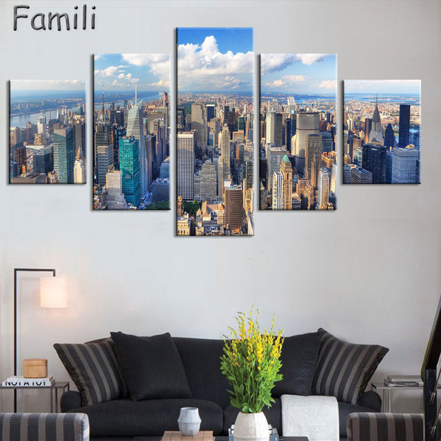 5 Panel Canvas Painting New York City HD Print Painting Modern Wall ...