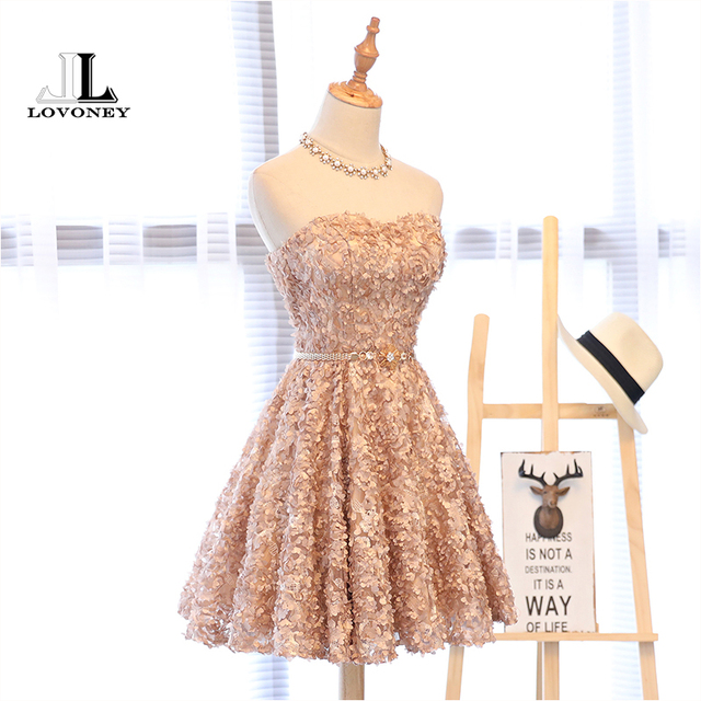 LOVONEY XYG702 A-Line Sweetheart Short Prom Dresses 2019 Sexy Backless Lace-Up Knee-Length Party Dresses Prom Gown Real Photos 1