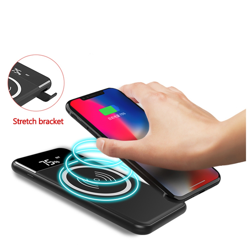 NEWYES Fast Charging 10W Portable Qi Wireless Charger with 10000 mAh Power Bank Charging Pad for iPhone X 8 Plus Samsung зарядное устройство satechi wireless charging pad для iphone 8 8 plus x rose gold st wcpr
