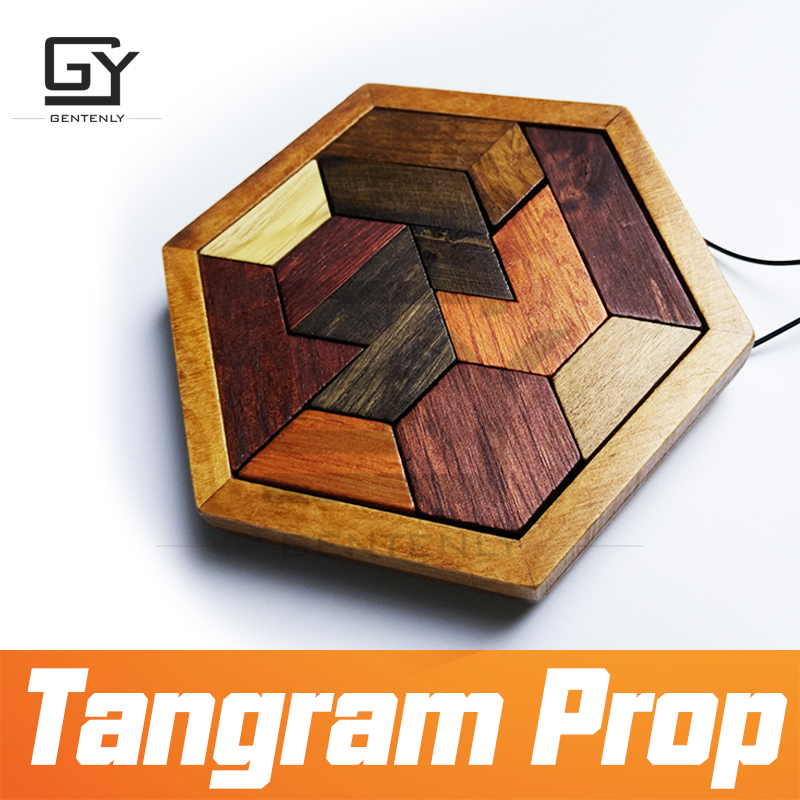 Escape room prop Tangram Prop real life room escape game finish jigsaw puzzles to unlock secret
