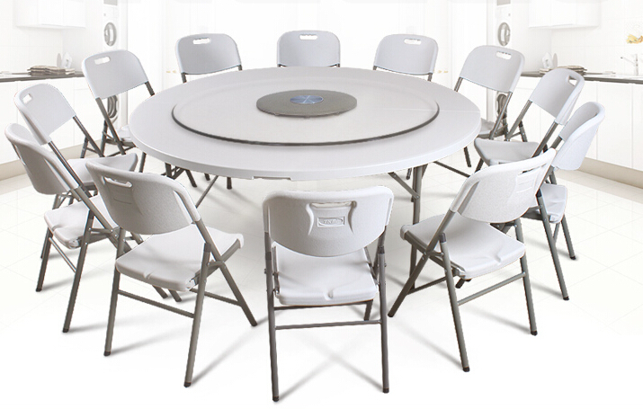 HDPE plastic folding dining table round for hotels restaurant home and outdoor
