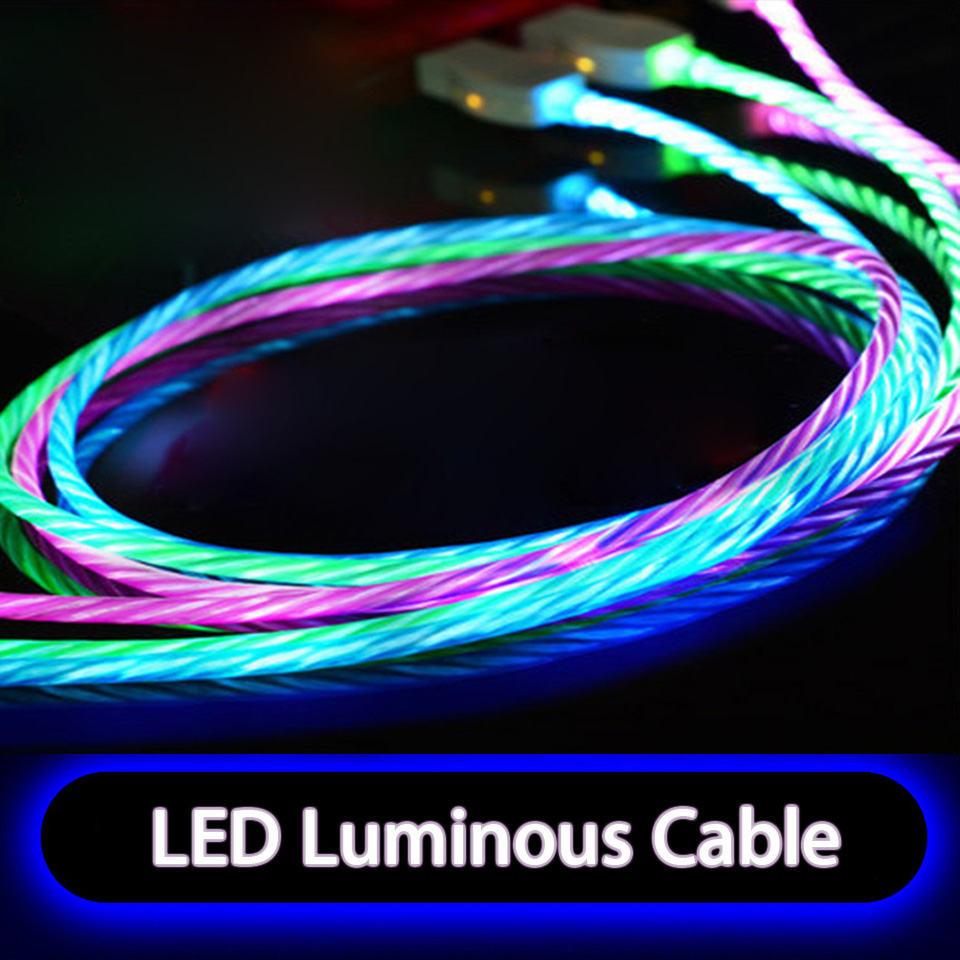 Cellphones & Telecommunications Mobile Phone Cables Led Glow Flowing Usb Type-c Cable Micro Usb Charger Charging Data Cable For Samsung A6s A8s Xiaomi Redmi Note 7 Pro Usbc Kabel