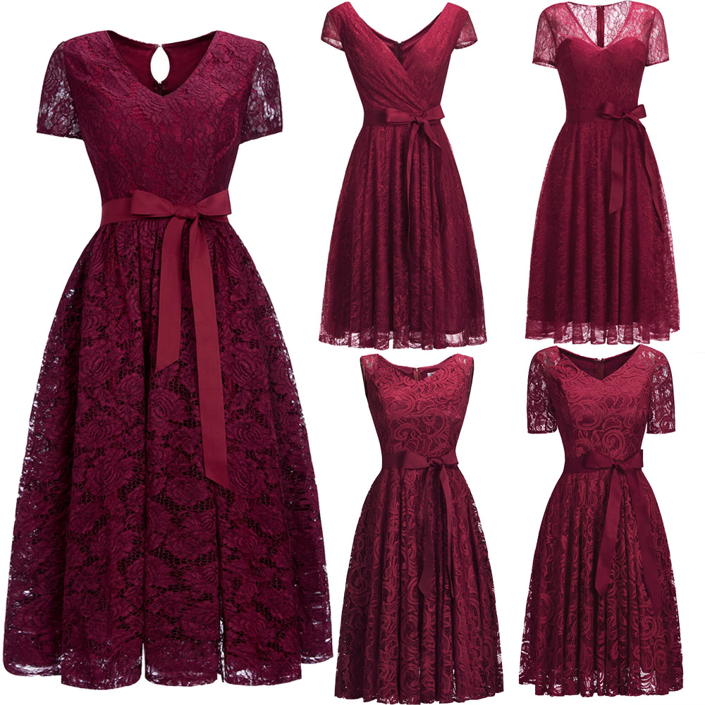 vestido de festa curto Sexy Short Cocktail Dresses 2019 Banquet Wine Red Red Lace Backless Party Formal Dress Homecoming Dress
