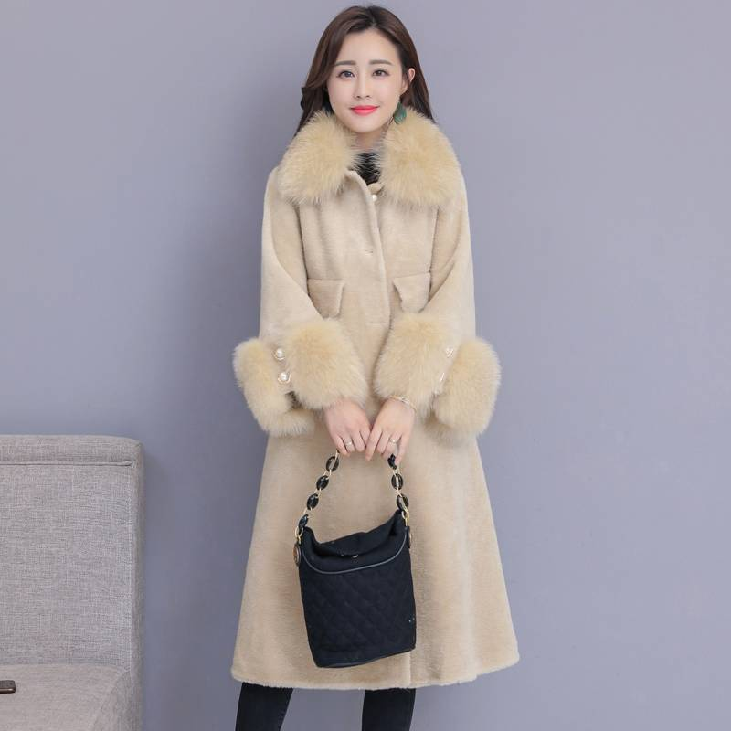 Fake Fur Collar Autumn Winter Women Turn Down Fur Collar Warm Coats Female Pockets Casual Plus Size 4XL Jackets Outerwear F85