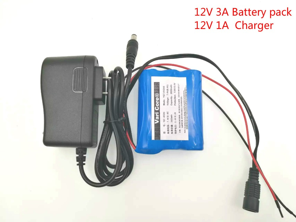 Литий-ионный перезаряжаемый аккумулятор VariCore 12 в 3000 мАч 18650 для камеры видеонаблюдения 3A батареи + зарядное устройство 12,6 в 1A
