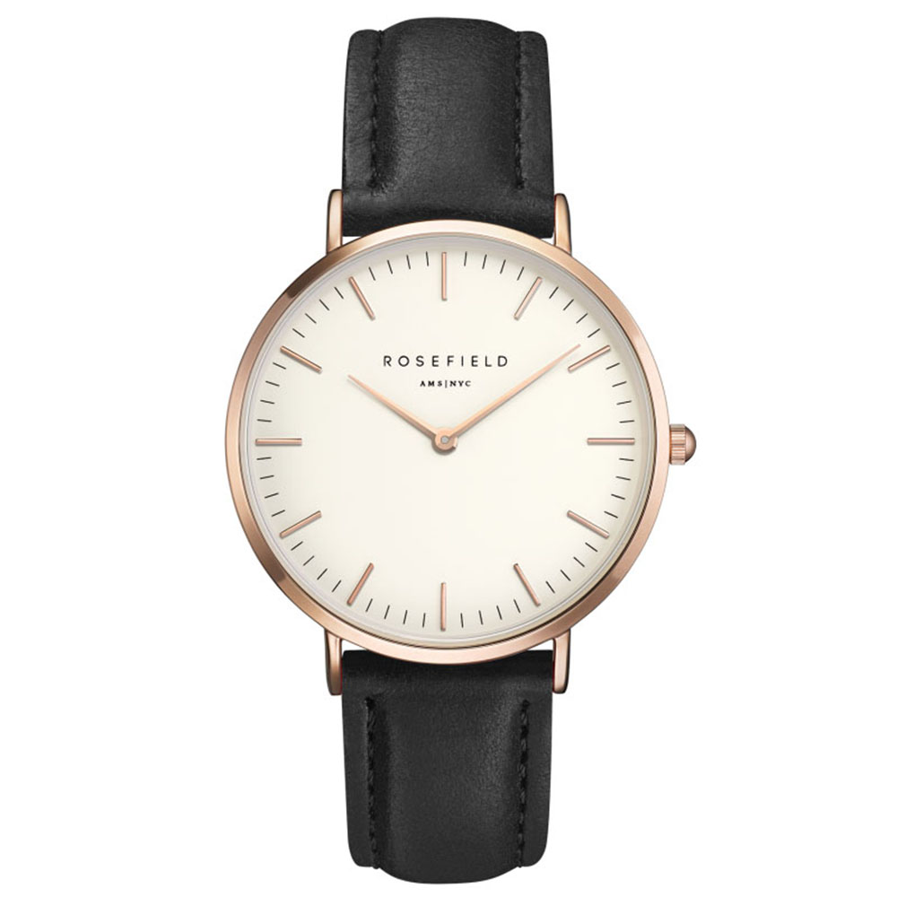 Ladies Ultra-Thin Watch - rose gold black leather strap