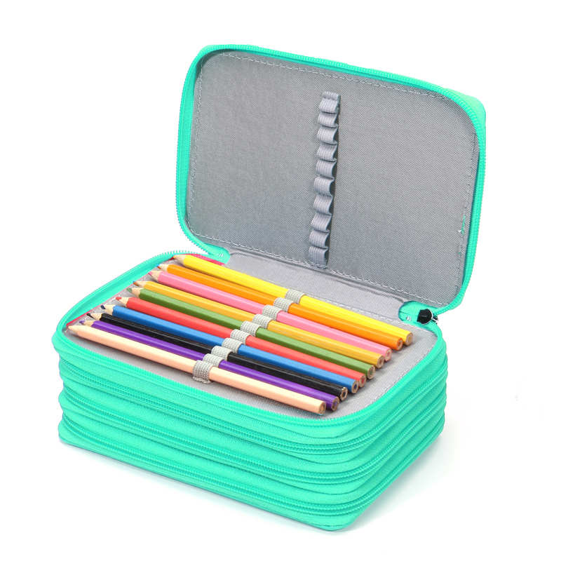 Kicute 75 Holders 4 Layers Handy PU Leather School Pencils Case Large Capacity Colored Pencil Bag For Student Gift Art Supplies kicute 120slots large capacity oxford canvas 4 layers school pencil case pencil bag art marker pen holder school supplies