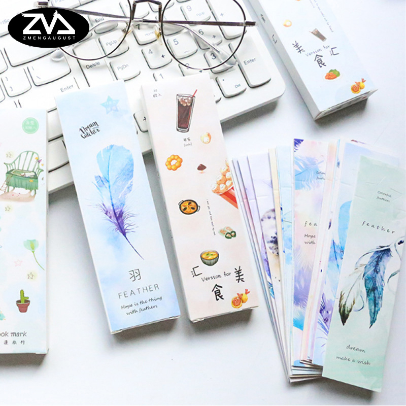 30pcs/box Interesting Food Gift Bookmarks Marker Stationery Gift Realistic Kawaii Cartoon Bookmarks Office School Supply