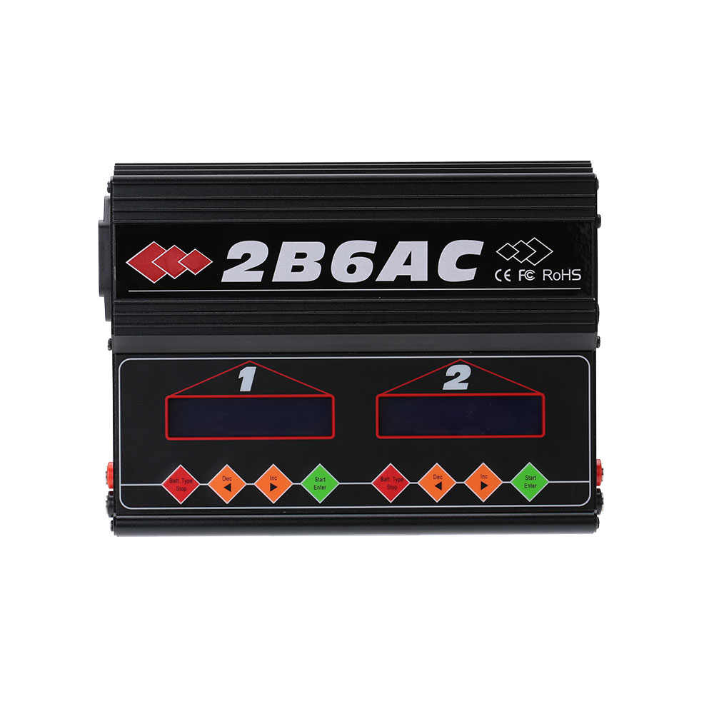 JIMI 2B6AC 2 X 50W Dual Power Multifunction AC DC Balance Charger Discharger for RC LiPo LiLo LiFe MiMh NiCd PB Battery