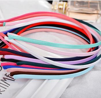 10PCS Stainless Steel Plain Blank Flat Hair Band Multi Colors 5mm Satin Covered Headband Hairwear Accessories Crafts DIY Jewelry