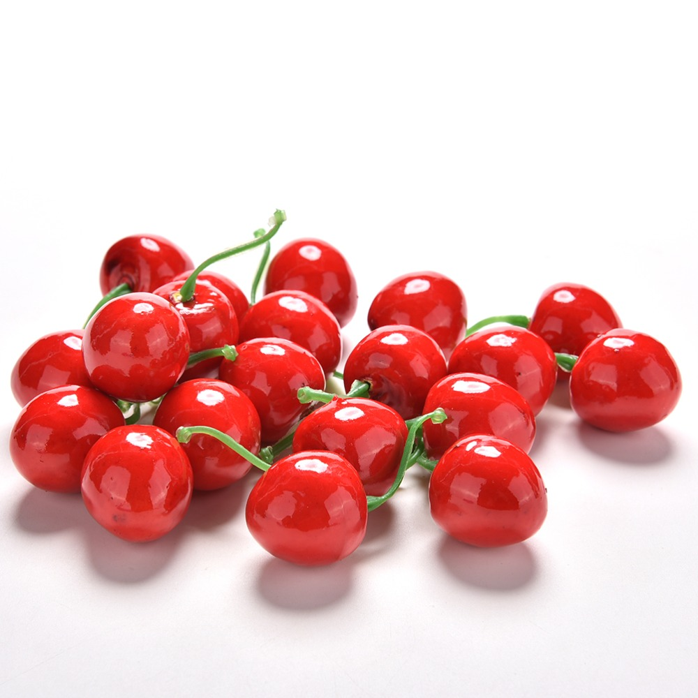 20Pcs/lot Funny Kitchen Toys 2.5cm Mini Fake Plastic Fruit Small Berries Artificial Flower Red Cherry For Kids