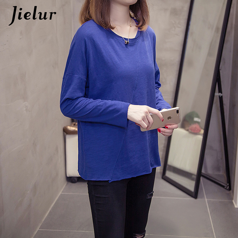 0b2800b174d16 ... Jielur 2019 Autumn Korean Long Sleeve T-shirts Women New Loose Slub Cotton  Tops Casual ...