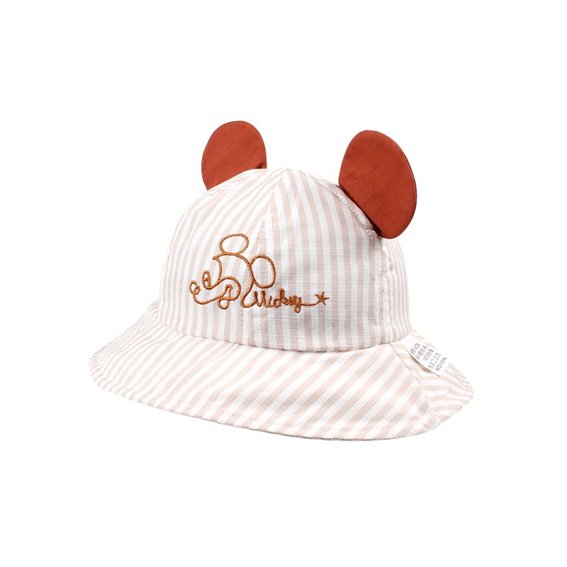 bf0c81b105c ... Striped Cartoon Baby Hat Mouse Ears Cute Baby Cap Breathable Wide Brim Baby  Boys Hat Summer ...
