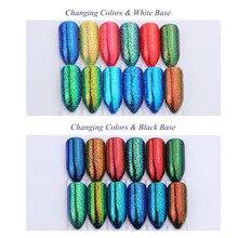 Manicure cross-border new 12-color chameleon fine powder magic color change fashion bright