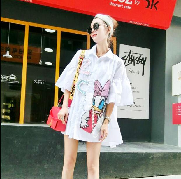 Summer Fashion Cartoon Duck Daisy Print Blouse Shirt Turn Down Collar Shirt Dress Loose Casual Sequins Tops