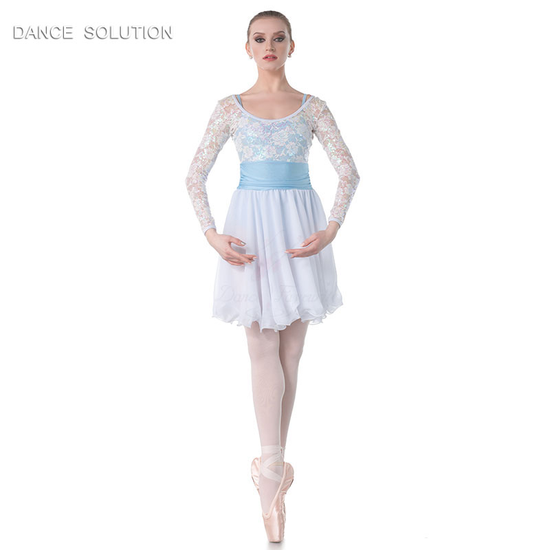 Child and Adult White Sequin Lace and Chiffon Dress Ballet Dance Costume Lyrical Contemporary Dancing Dresses