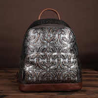 2017 New Fashion Women Backpack Genuine Embossed Leather Female School Bag Daypack Famous Brand Ladies Vintage Travel Rucksack
