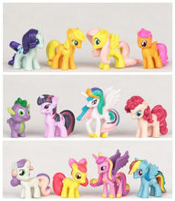 12pcs/set Rainbow Dash+Cute Little HorseToys poni horse model For Children Christmas Gift hot sale(China)