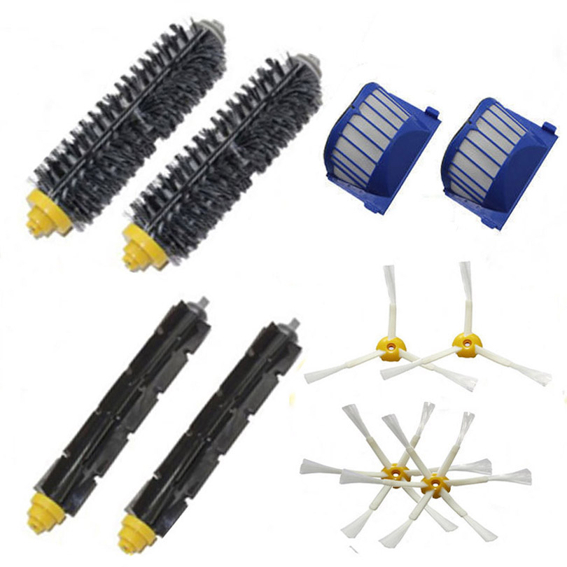 Top Quality 2 Bristle & Flexible Beater &4 Armed Brush & 2 Aero Vac Filter For iRobot Roomba 600 620 630 650 660 aero vac filter bristle brush flexible beater brush 6 armed side brush for irobot roomba 600 series 620 630 650 660 vacuum
