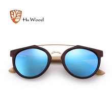 HU WOOD New Brand Sunglasses Men Women Natural Bamboo Frame Sun Glasses Round Wrap Double Bridge Goggle Driving Travel GR8023