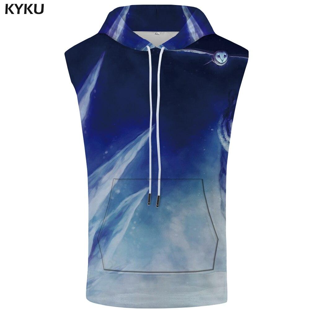 KYKU Tiger Hooded   Tank     Top   Men Snow Sleeveless Galaxy Sweatshirt Anime Singlets Stringer Shirt Mens Clothing Casual Anime Punk