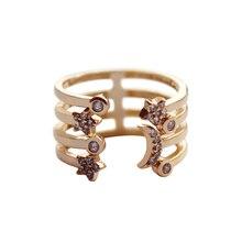 2019 Star Moon Personalidad Fashion Popular Trendy Multilayer Cubic Zirconia Adjustable Ring Party Bohemia Women Jewelry 3081
