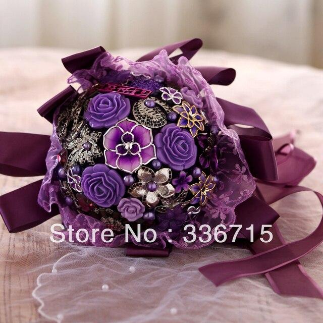 EMS Perfect Purple Pearl Beadwork Bouquet Brooch Ribbon Gold Bridal Wedding Decoration Free