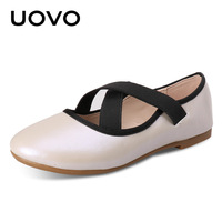 UOVO New Kids Leather Shoes Beautiful Lovely Ballet Shoes Comfortable Girls Princess Shoes Slip On Flats