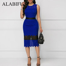 ALABIFU Summer Dress Women 2019 Bodycon Hollow Out Lace Dress Plus Size Vintage Wedding Bridesmaids Party Dress ukraine 3XL(China)