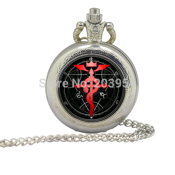 New arrival Silver movie Fullmetal Alchemist Magic Pocket Watches quartz 12pcs/lot Necklace steampunk pendant handmade jewelry