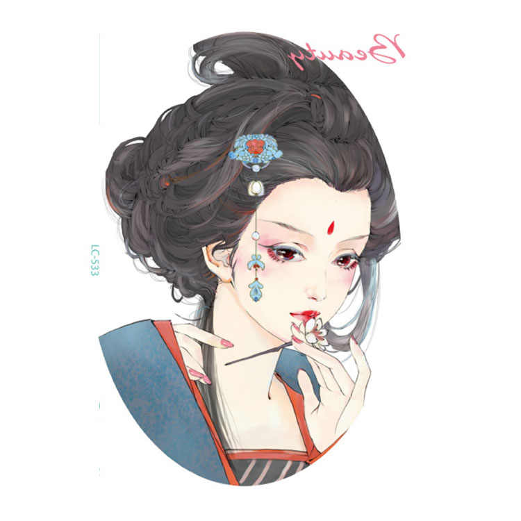 中国唐王朝衣装美容ガール芸者テンポラリータトゥーステッカー脚色大きな入れ墨LC533またはLC532