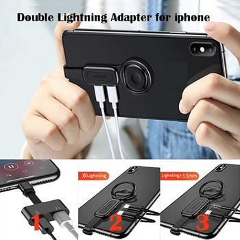 New Ring Adapter Holder for IPhone Phone AUX Earphone Adapter for Lightning Headphone 2 In 1Cable Music Charging