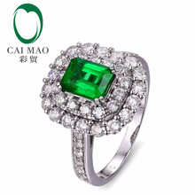 CaiMao 1.10 ct Natural Emerald 18KT/750 White Gold 1.30 ct Full Cut Diamond Engagement Ring Jewelry Gemstone colombian
