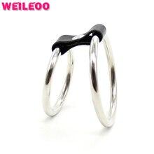 2 кольца задержать петух кольцо из нержавеющей стали кольцо пениса cockring мяч носилки взрослых секс-игрушки для мужчин секс-игрушки для пары