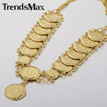 Trendsmax Trendy Womens Ladies Shiny Coin Link Necklace Yellow Gold Filled Necklace Chain Fashion Jewelry GN407