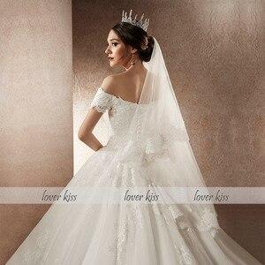 Image 5 - Lover beijo vestido de noiva vestido de noiva vestido de noiva de luxo miçangas fora do ombro com trem robe mariee mariage