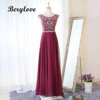 BeryLove длинные Бордовое платье для выпускного 2019 Дешевые шифон вечернее платье для выпускного вечера особых случаев вечерние платье Для женщ
