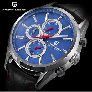 PAGANI DESIGN Luxury Luxury Multifunctional Men's Fashion Blue Dial Chronograph Quartz Watch Men's Sports Watch Business Steel