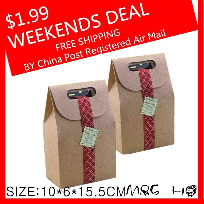 Weekends Deal Packaging Real font b Food b font Bags 350g Kraft Paper Cake Cookies Packing10