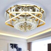 Iwhd k9 кристалл светодиодный потолочный светильник современная мода круглый потолочный светильник творческий металл Lampara TECHO дома Освещение
