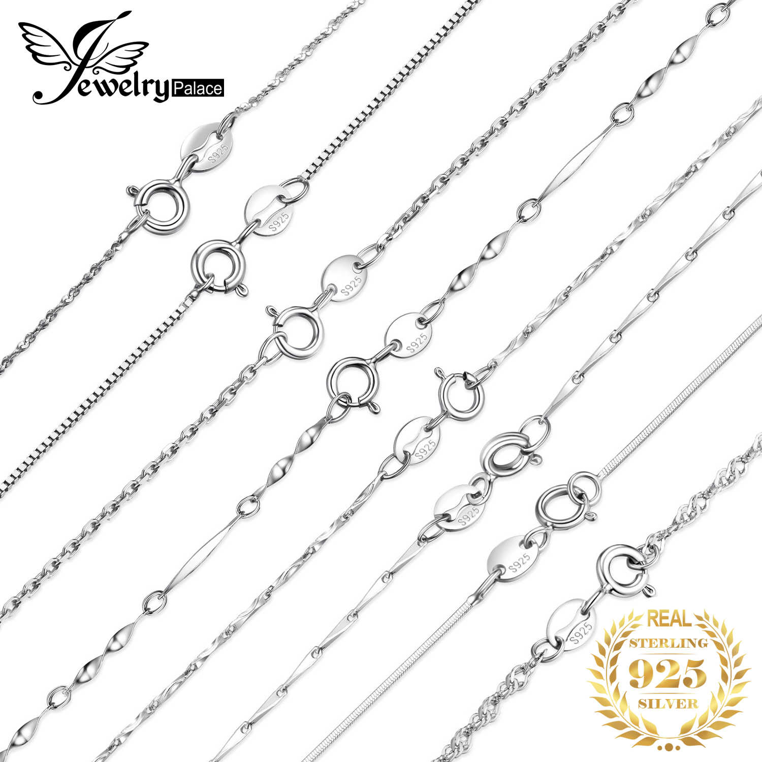 JewelryPalace 100% Real 925 Sterling Silver Necklace Ingot Twisted Trace Belcher Snake Bar Singapore Box Chain Necklace Women