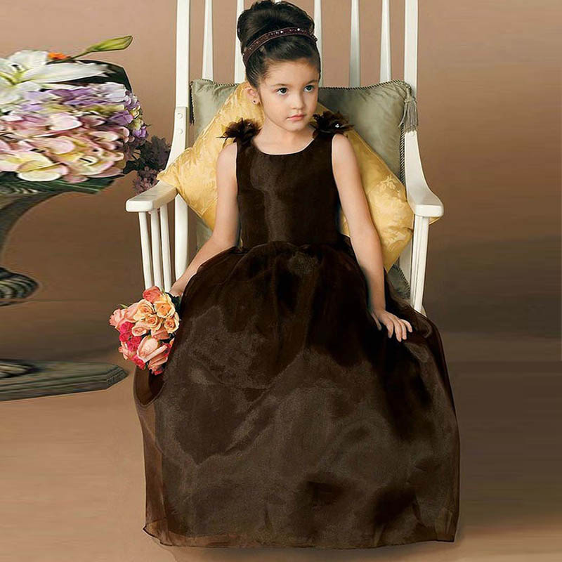 Vestido de Comunion Jewel Neck Backless with Bow Flower Girl font b Dress b font Long