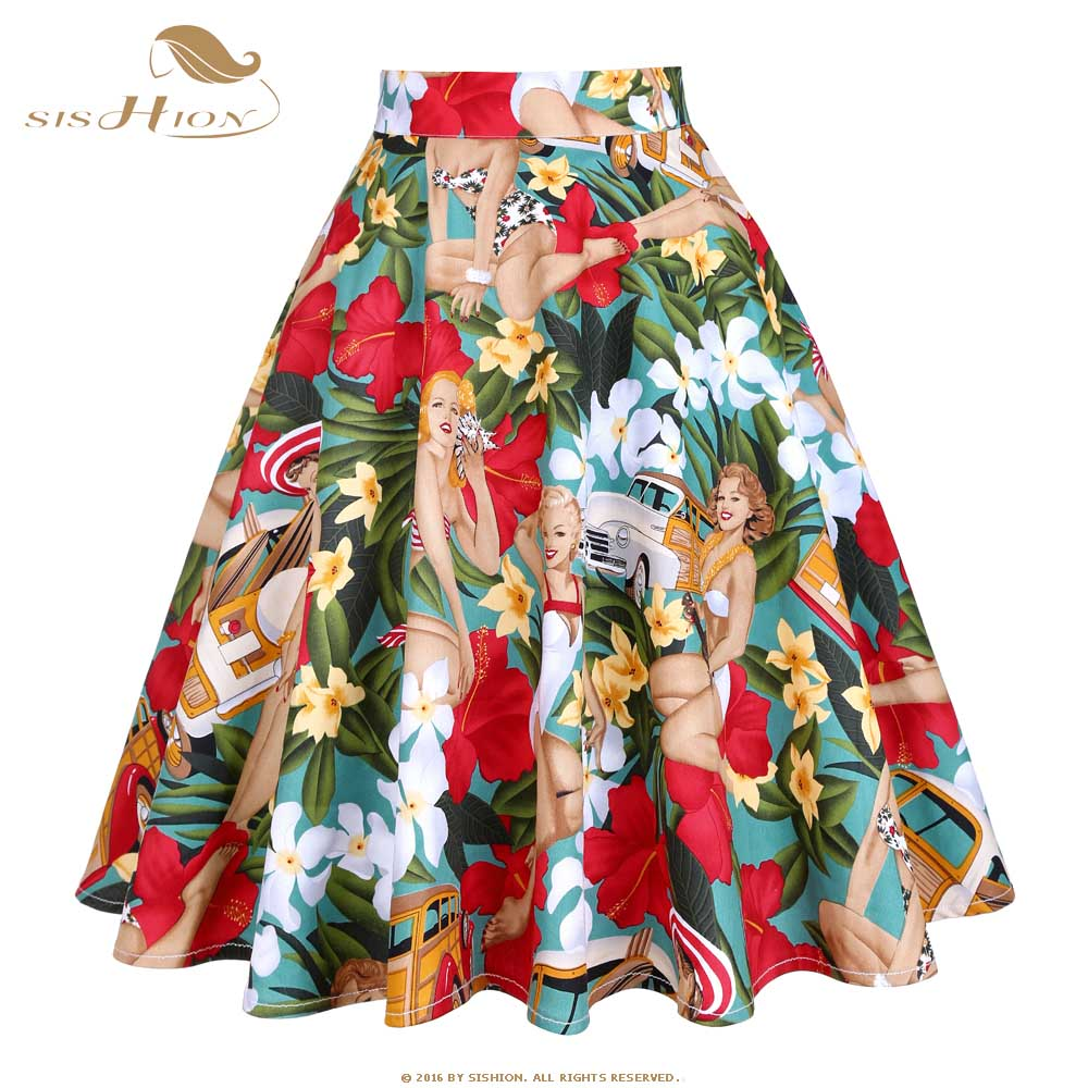 SISHION Cotton Black Skirt Womens Sexy Midi Summer Skirt Floral Polka Dots Black Red Blue Plus Size High Waist Plaid Women Skirt