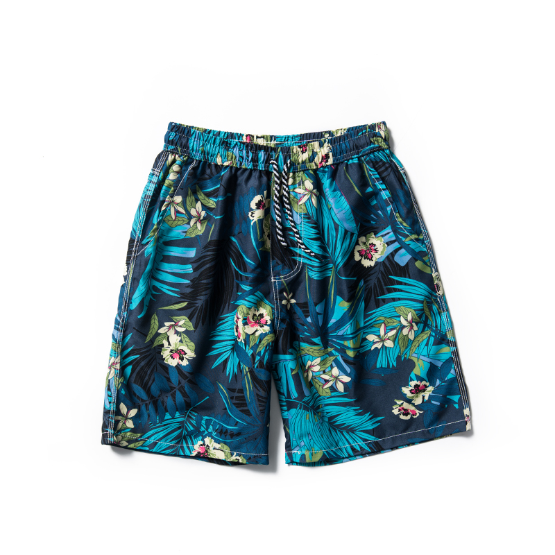 Green Plant Leaf Printed Summer   Shorts   For Male Elastic Waist Quick Dry   Board     Shorts